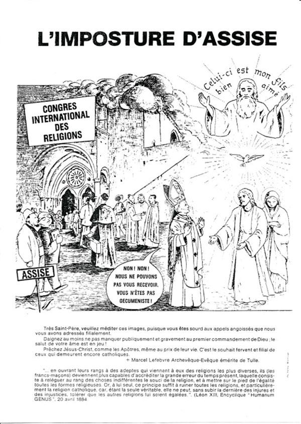 L'imposture d'Assise - Vignettes envoyées par Mgr Lefebvre à Jean-Paul II